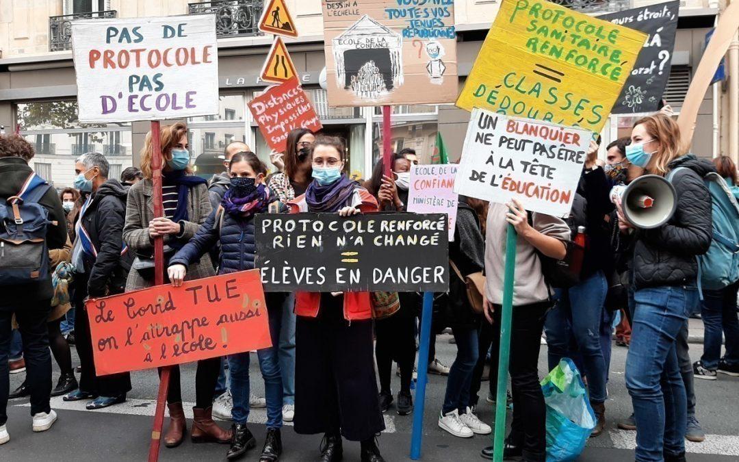 Covid-19 : Grève sanitaire à Paris : des lycées bloqués et des enseignants dans la rue